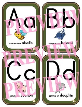 French Alphabet Cards - 3 versions