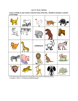 French Animal Picture Bingo and Hidden Words Puzzle