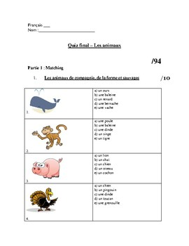 french animal unit test worksheets les animaux by french learning for all. Black Bedroom Furniture Sets. Home Design Ideas