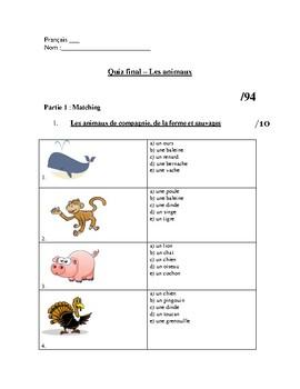 French Animal Unit Test/Worksheets - Les animaux