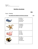 French Animal Unit Test/Worksheets - Les animaux