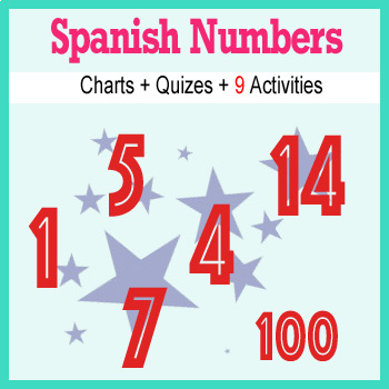 Spanish Numbers Unit : Vocab, Charts, Activities, Quizes and More