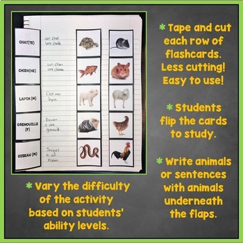 French Animals Flashcards, Interactive Notebook Flashcards, Les Animaux