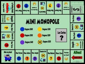 French Animals-Les Animaux Mini Monopole Game Board