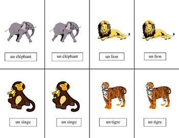 French Animals-Les Animaux Vocabulary Pair Cards