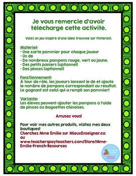 French Apple Tree Math Game/ Jeu du pommier Pompon