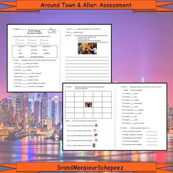 French: Around Town and Preposition Vocab and Assessment Bundle