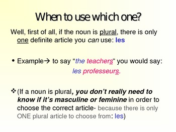 French Definite/Indefinite Articles PowerPoint. Bien Dit 1, Chapter 1