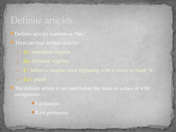 French Articles and Nouns powerpoint