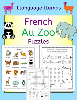 French Zoo Animals - Au Zoo - Puzzles pack - les animaux