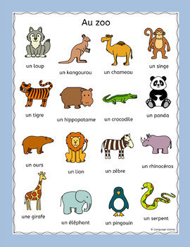 French Zoo Animals Au Zoo Puzzles Pack Les Animaux By