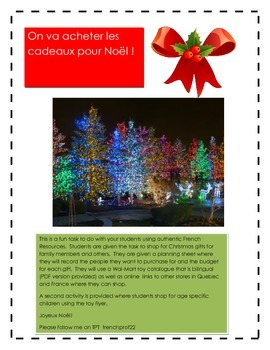 French Authentic Task-Shopping for a Christmas Present (Noel) Ontario Curriculum