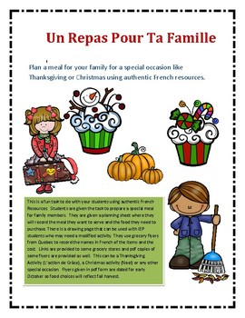 French Authentic Task -Shopping for a special meal Noel et l'action de grace