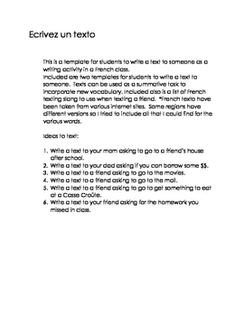 French Authentic task- write a text to a friend Ontario Curriculum