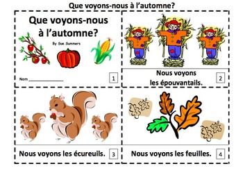 French Autumn 2 Emergent Readers - Que voyons-nous à l'automne?