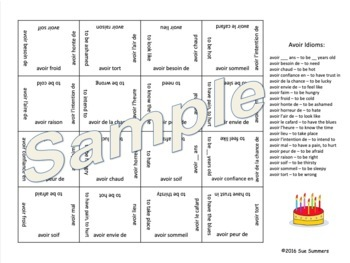 French Avoir Expressions 4 x 4 Matching Squares Puzzle