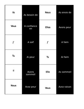 French Avoir Expressions Domino Game Activity