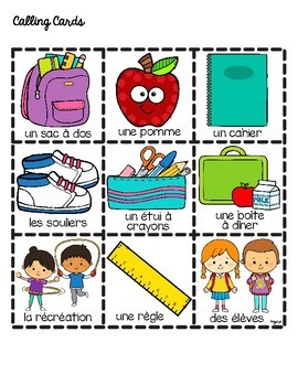 French BACK TO SCHOOL Bingo