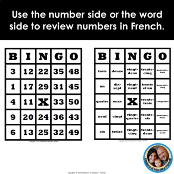 French BINGO Bundle -Smart Notebook Game & 30 Double-Sided Cards-Numbers 1 to 50