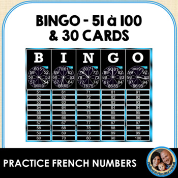 French BINGO Bundle -Smart Notebook Game+30 Double-Sided Cards-Numbers 51 to 100
