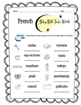 French Baby Bath Time Worksheet Packet
