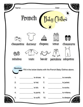 French Baby Clothes Worksheet Packet