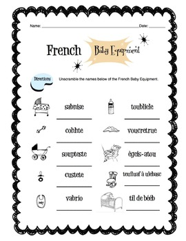 French Baby Equipment Worksheet Packet