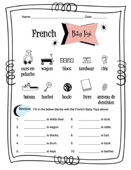 French Baby Toys Worksheet Packet