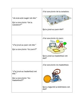 French Back To School J'ai...Qui a? Game