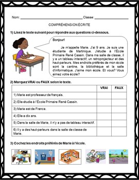 French Back to School Activities: La Rentrée Scolaire (7th to 12th)