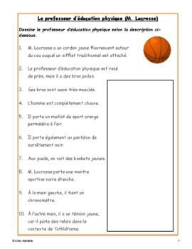 French Back to School Comprehension Activity