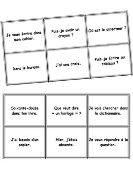 French Back to School / La Rentree vocabulary cards