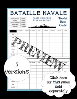 French Bataille Navale Games - French Battleship Games Growing Bundle