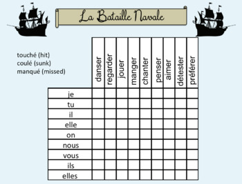 French Battleship Speaking activities templates- conjugation practice