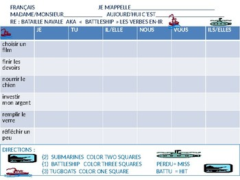 French:  Battleship game with -IR Verbs