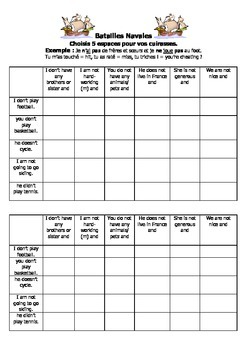 French Teaching Resources. Battleships Game/ Lotto Grid: Negatives: ne + pas