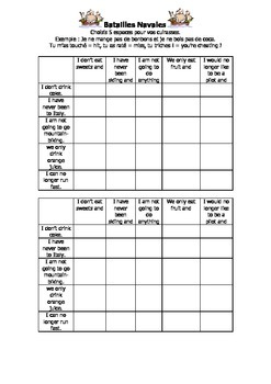 French Teaching Resources. Battleships/ Lotto Game: Negatives + range of tenses.