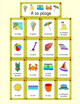 French Summer Beach Vacation Resources - A la plage - activities, puzzles, bingo