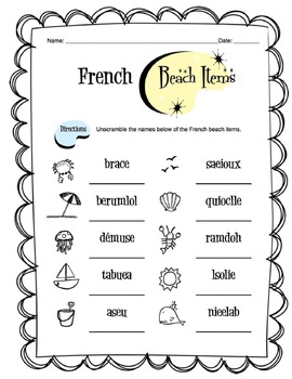 French Beach Items Worksheet Packet