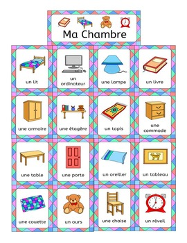 French Bedroom Vocabulary Ma Chambre By Llanguage Llamas Tpt