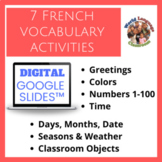 French Beginner Topics Digital, Google Slides™ Vocabulary