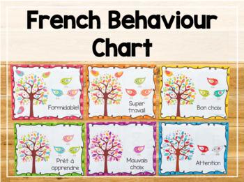 French Behaviour Chart - Polka Dot and Bird Themed VERSION 1