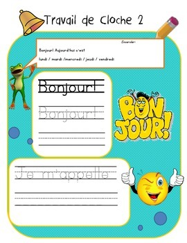 French Bellwork (80 pages) French travail du matin, travail du cloche