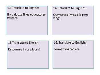 French Bien dit 1 chapter 1 task cards with review questions