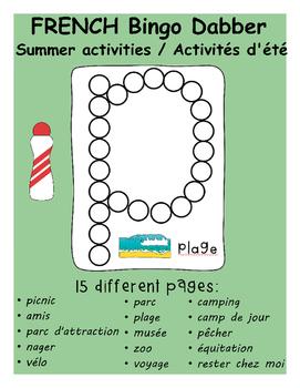 French Bingo Dabber Summer Activities / Les activités d'été