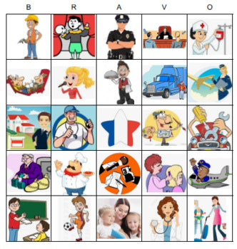 French Bingo Jobs, Careers, Professions / Les professions