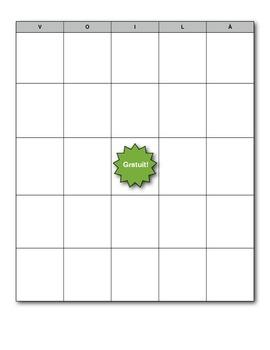 French Bingo (Voilà!) Card