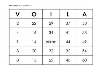VOILA French Bingo using numbers 0 to 60 - set of 15 cards (Voila Chiffres 0-60)