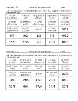 French Birthday Bingo
