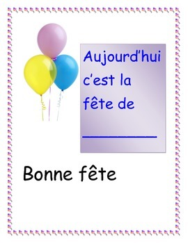 French Birthday Bulletin Board Set